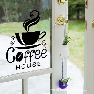 wall stick a western restaurant coffee milk tea post coffee shop restaurant, the window glass trumpet a single phone
