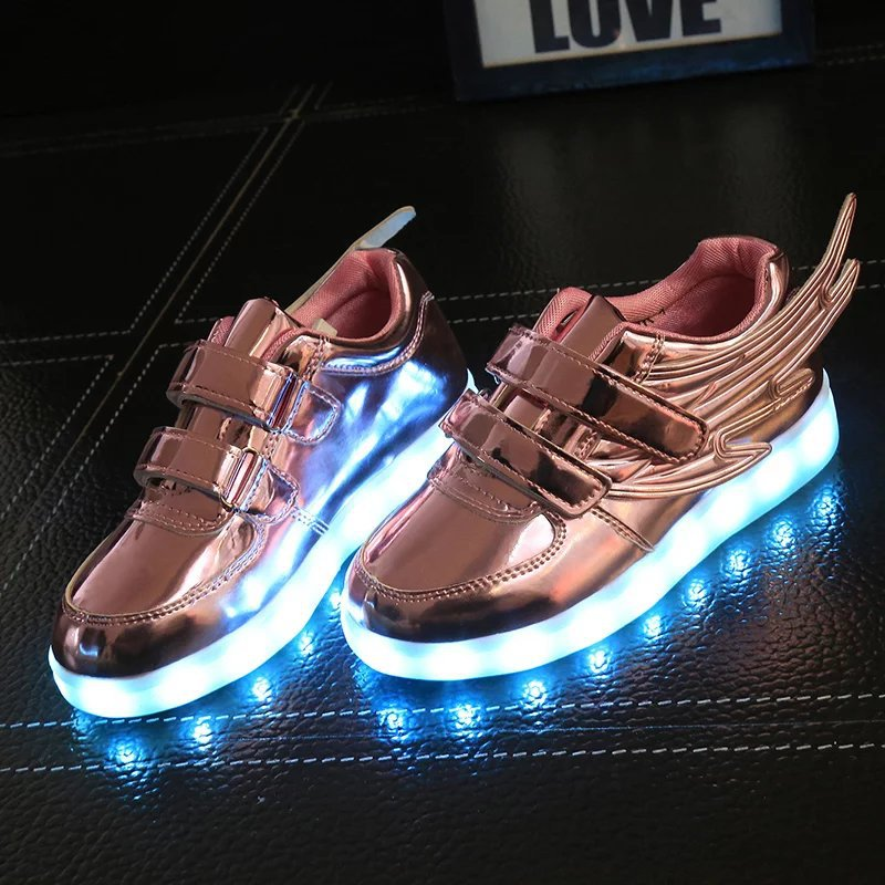 2019 New usb charging glowing sneakers Kids Running led wings kids lights up luminous shoes girls boys fashion shoes