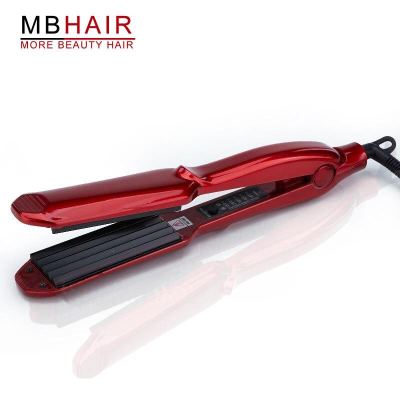 Professionnel en céramique ondulé fer pour vague ondulation plat fers à friser curling cône régler la température Large cheveux Vague Plaque-3369