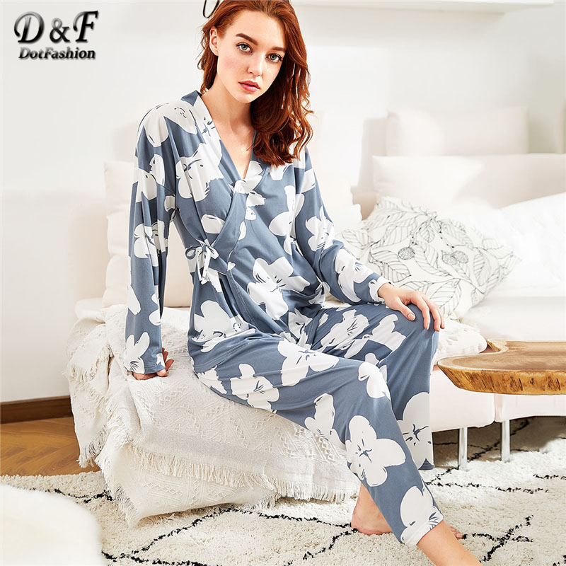 Dotfashion Florals Wrap Top and Pants   Pajama     Set   Multicolor V Neck Women Suits 2019 New Spring Long Sleeve Casual   Pajama     Set