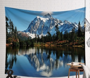 Image 3 - CAMMITEVER Beautiful Mountain River Scenery Tapestry Wall Hanging Art Wall Blanket Home Decor Bohemia Mandala Floral Carpet