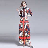 Fashion Designer Runway Boho Maxi Dress 2019 Autumn Women's Luxury Printed Long Shirt Robe Femme High Waist Vintage Party Dress
