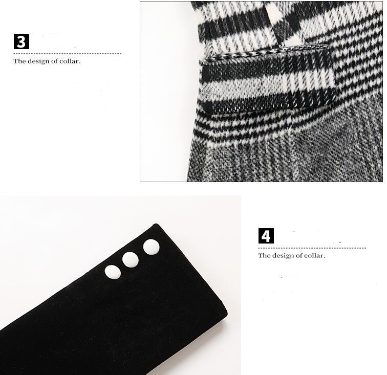 Velour Patchwork Wool Plaid Blazer Coat Female Long Sleeve Asymmetrical Women`s Suits 2019 Spring Fashion Clothes MA19 (5)