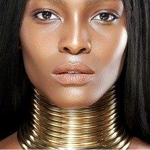MANILAI, винтажное Массивное колье, ожерелье для женщин, золотого цвета, кожаный воротник, Макси ожерелье, африканские ювелирные изделия, регулируемые чокеры, большие