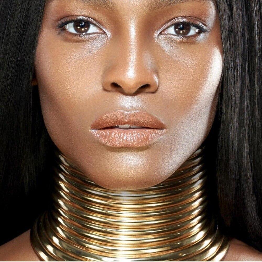 MANILAI Vintage Aussage Choker Halskette Frauen Gold Farbe Leder Kragen Maxi Halskette Afrikanischen Schmuck Einstellbare Colliers Große