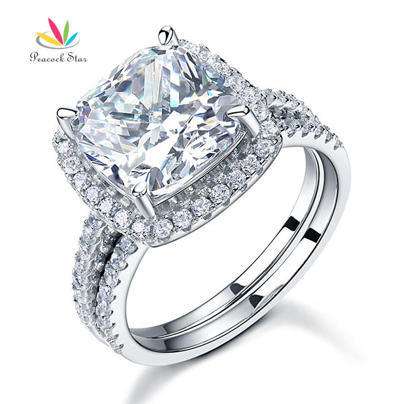 Peacock Star 5 Ct Cushion Cut Wedding Engagement Ring Set Solid 925