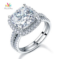 5 Carat Cushion Cut Created Diamond Engagement Ring Set Solid 925 Sterling Silver Wedding Jewelry CFR8205