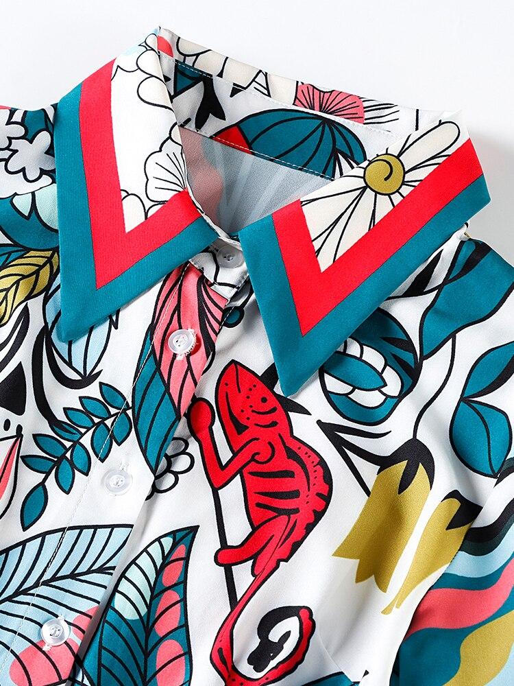 Tempérament Femmes Imprimée Nouveau Américain De Et Mince Taille Européen Brillait Courtes D'été Youe Plissée Multi Manches Robe Revers Designer À 0UqZBnw
