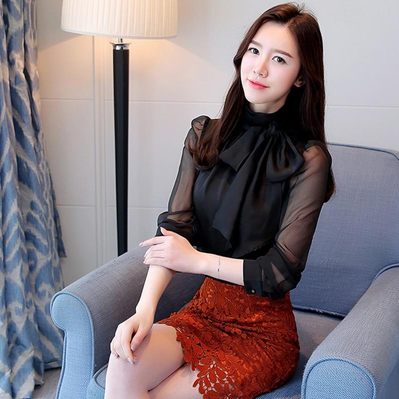 1f04a46ac0 2018 nuevo cuello alto arco Chiffon que basa la camisa de La Blusa de manga  larga de Mujer Oficina Ropa de trabajo suave elegancia Tops Mujer Camisas