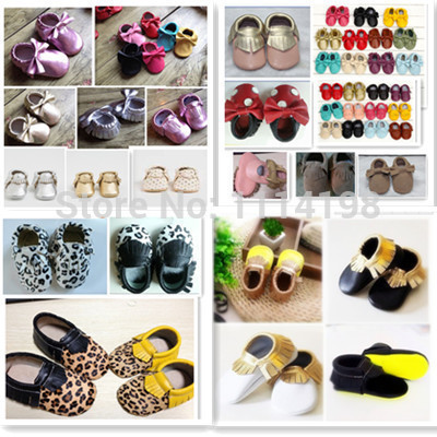 NEW 100% Genuine Cow Leather Baby Moccasins Soft Moccs Newborn Shoes Prewalker Anti-slip First Walkers Infant Shoe free shipping