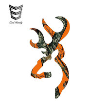 EARLFAMILY 13cm x 7cm Browning Style Buck Realtree Orange Camo Camouflage Hunting Sticker Orange Vinyl Decal(China)