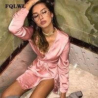 FQLWL повязки миди с длинным рукавом платье для женщин Bodycon розовый черный, красный атласное нарядное платье 2018 Элегантные Осенние пикантные ж...