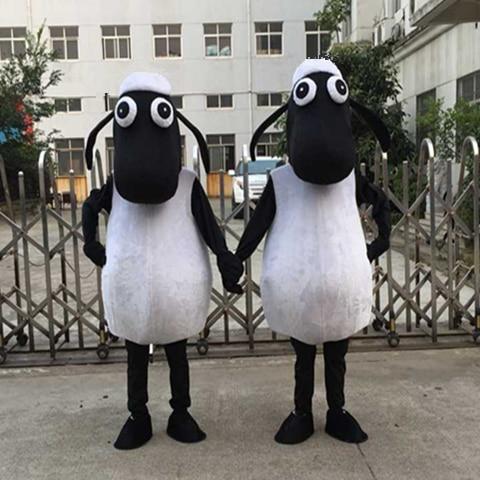 Costume de mascotte d'agneau de mouton noir Costume de mascotte de mouton Shaun le mouton Costume de mascotte de chèvre tenue de déguisement Costume de Cosplay d'halloween