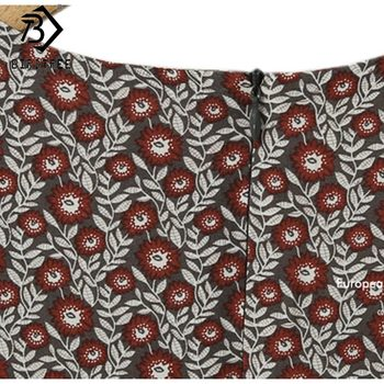 Plus Size 4XL O-Neck Women Print Flowers Shirt Dress Fall Fashion Vintage Long Sleeves Good Quality Female Dress D7N705A 6