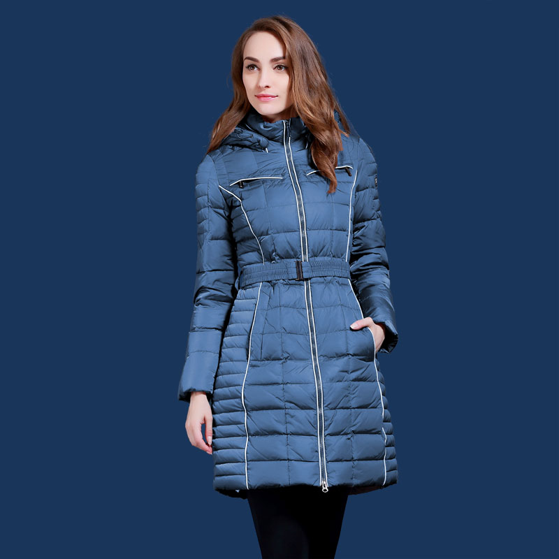 Parkas women winter 2017 fashion slim Long design white duck   down     coats   Young girl blue and brown Warm   down   jacket Q315