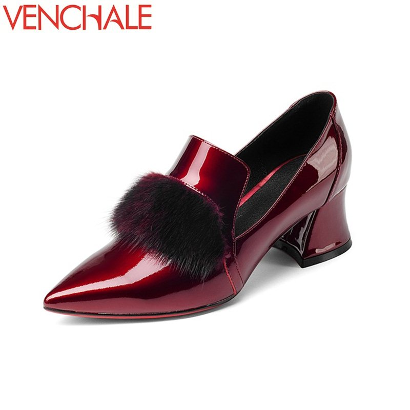 VENCHALE pointed toe female mink fur decoration noble patent leather shoes for woman graceful curve design solid spring pumps noble people куртка на пуху без меха для мальчика 18607 284down no fur зелёный noble people