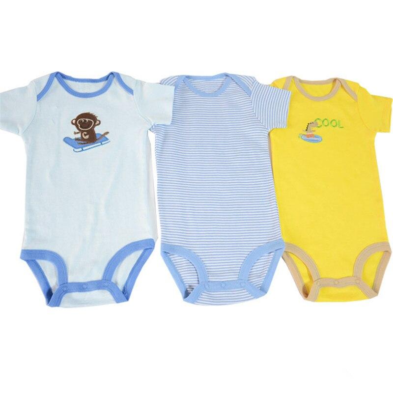 1 Stuk Zomer Stijl Katoenen Baby Jongen Meisje Bodysuit Korte Mouw Baby Jumpsuit Outfit Envelop Kraag 0-2 Jaar Van Het Grootste Gemak