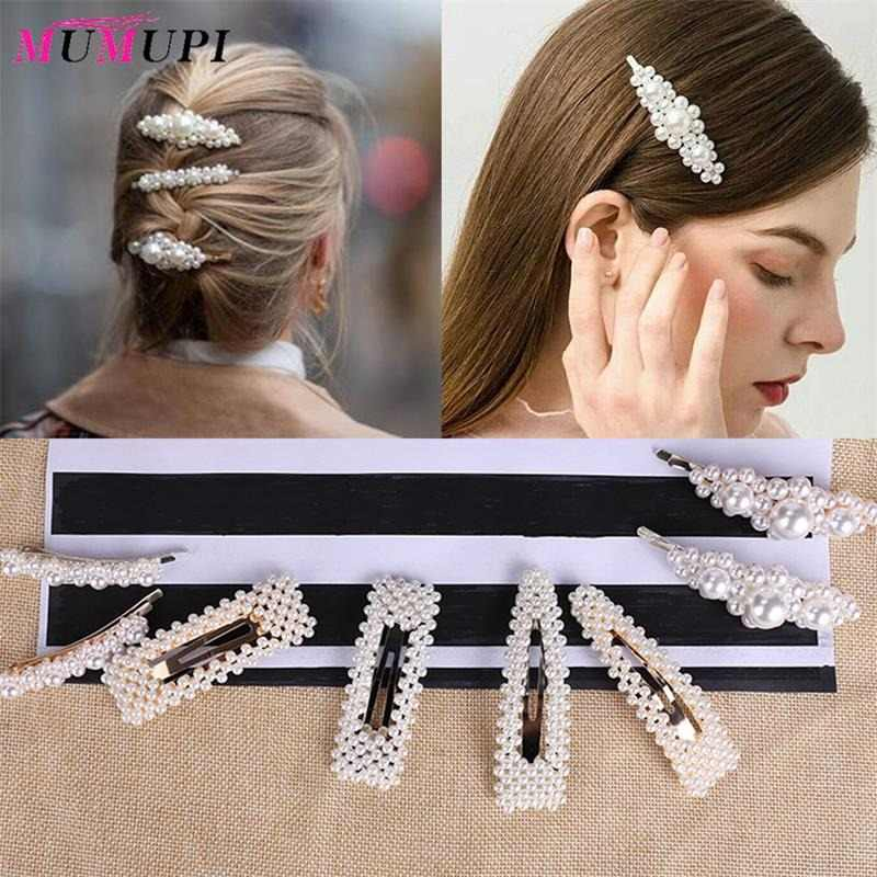 MUMUPI Hair Clips for Women Full Pearls Hairclip Fashion Style Metal Ponytail Holder Hairpins BB Hairgrip Girls Hair Accessories