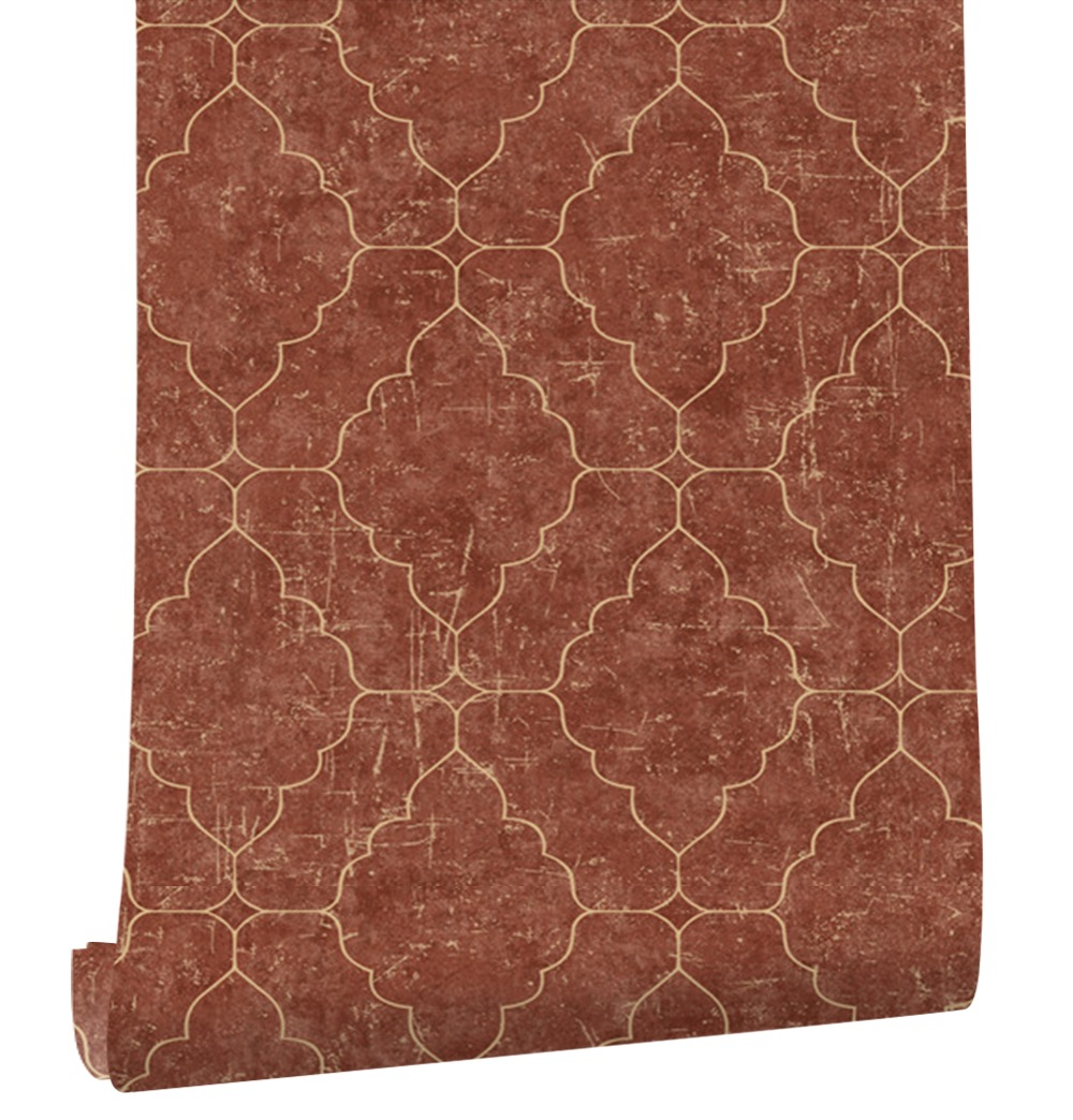 HaokHome Vintage graphique treillis Non-tissé papier peint rouge/or Contact papier salon chambre cuisine maison mur décoration