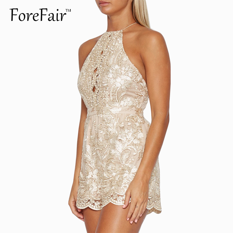 Forefair Gold Lace Embroidery Jumpsuit Rompers Women Sleeveless Backless Halter Bandage Bodysuit 2018 Fashion Playsuits