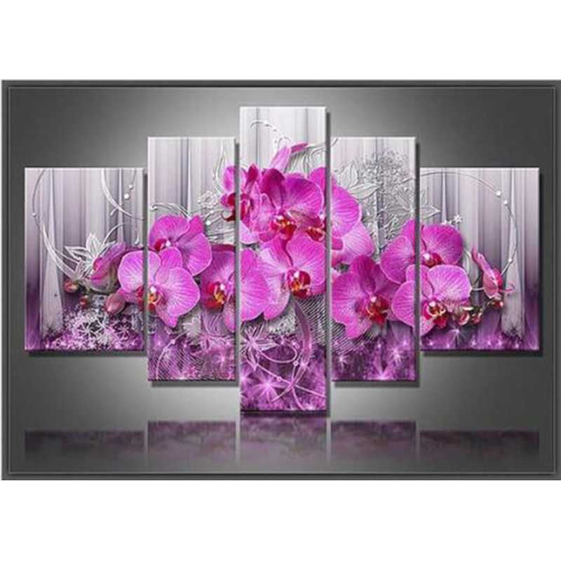 5pcs Diamond Painting Flower Orchid Cross Stitch Multi picture Diamond Embroidery Full Square Rhinestones Painting Mosaic