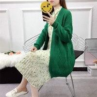 Harajuku Long Cardigan Ladies Warm Spring Fashion Long Knit Sweater Women Large Coat Casual Black Jacket