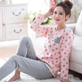 2017 Otoño Mujer ropa de Dormir de Algodón 2 Unids/set Camisones de Manga Larga Pijama Casa Ropa Para Mujeres Ropa de Dormir Ocasional M-2XL