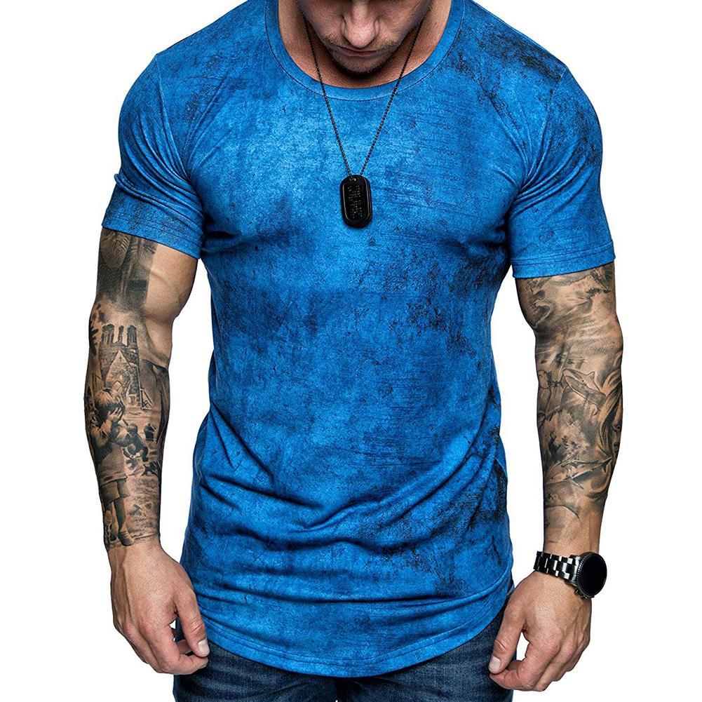 Fashion Summer Men Slim Fit Tie Dye T-Shirt Round Neck Short Sleeve Tee Top