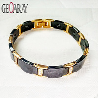Geoaray Healthy Ceramic Bracelets&Bangles Gold platef men Jewelry Magnetic Hematite Bracelet Health Elements Best Gift for love
