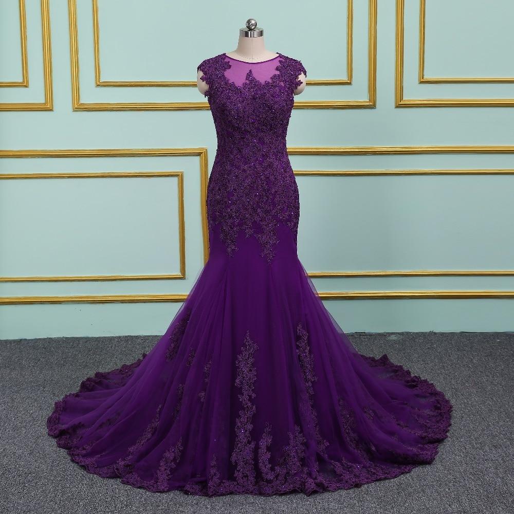 2018 nueva llegada elegante púrpura Vestido de fiesta vestidos de ...