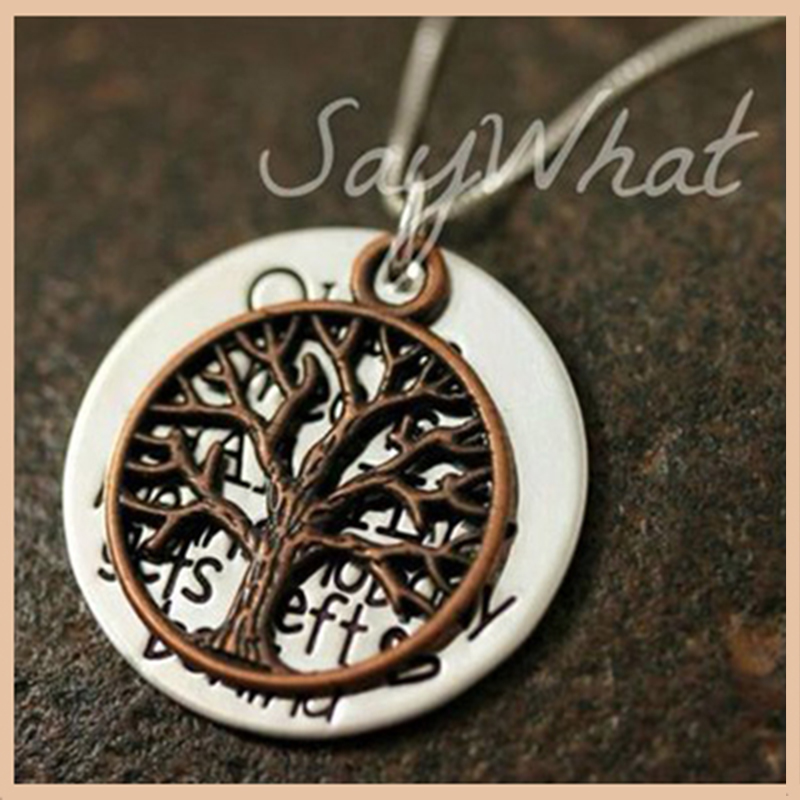 Personalized 925 sterling silver hand stamped tree of life Ohana necklace for women Custom carved letter pendant necklace in Pendant Necklaces from Jewelry Accessories