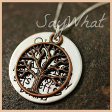 Personalized 925 sterling silver hand-stamped tree of life Ohana necklace for women Custom carved letter pendant necklace цена