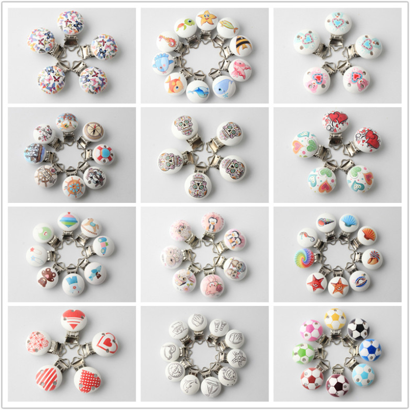 Various Patterns Metal Wooden Baby Safety Pacifier Clips 5Pcs/Lot Cute Infant Teething Soother Clasps Holders Accessories
