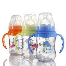 180ml Baby Milk Feeding Bottle Wide Mouth Tritan Material An-flatulence with Handle