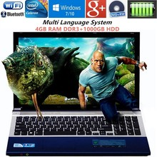 4GB DDR3+1000GB HDD 15.6″1920x1080P Gaming Laptop J1900 Quad Core Windows7/10 Notebook PC Computer with DVD ROM WIFI webcam HDMI