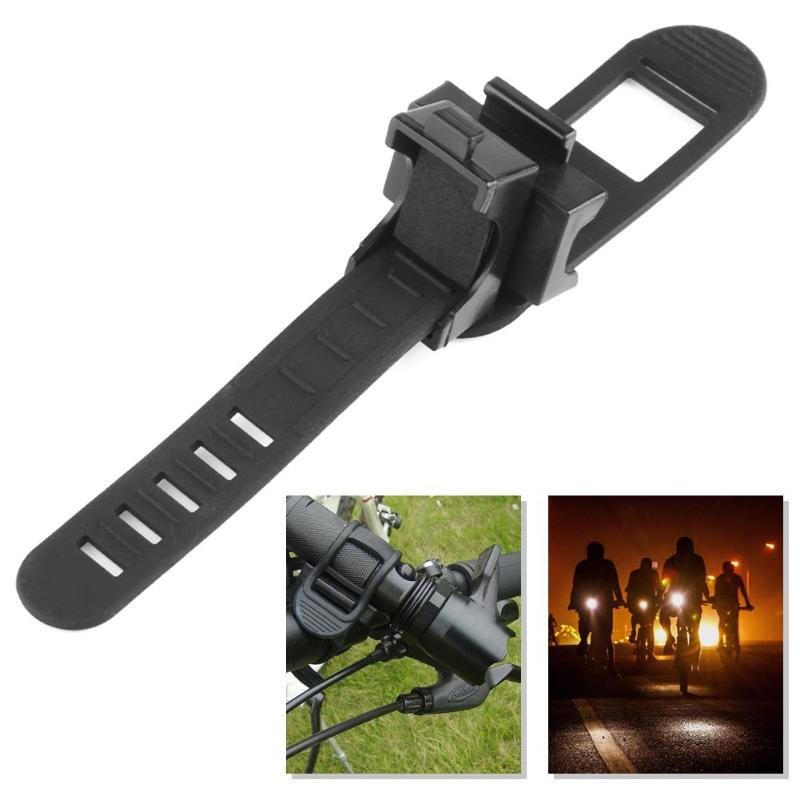 Black Rubber Bike Front Lamp Light Clamp Headlight Holder 360C Rotatable Swivel Bicycle LED Flashlight Torch Mount Holder Clip
