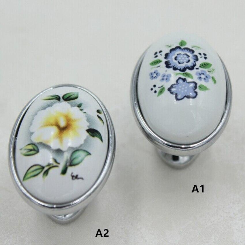 40mm Silver Kitchen Cabinet Knobs Blue Flower Ceramic Drawer Pulls Silver CHROME Dresser Wardrobe Handle Pulls Knobs elipso knob коньки onlitop 223f 37 40 blue 806164