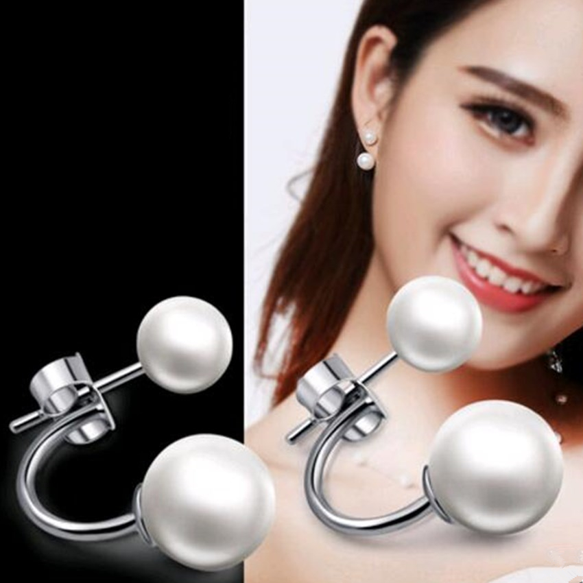 Damen Double Imitation Pearl Ball Ohrstecker Mode Silber Schmuck Crescent Ohrringe Prinzessin Temperament Schmuck