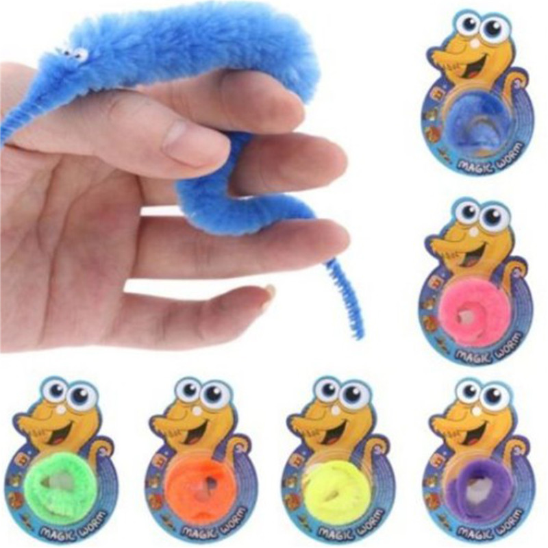 Drop Shipping 1Pc Magic Trick Twisty Fuzzy Worm Kids Cartoon Animals Toys Bile Fuzzy Moving Sea Horse Dolls 6 Random Color