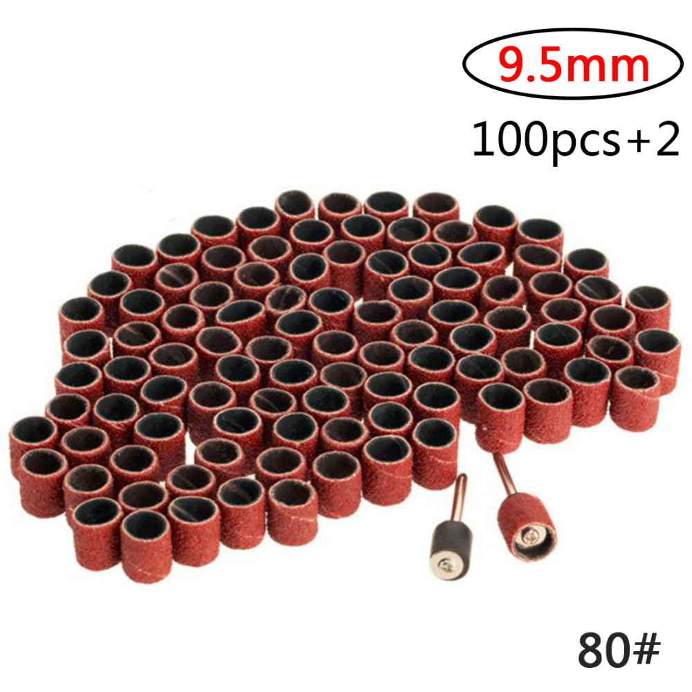 New 100Pcs Dremel Accessories Grit 80# 9.5mm Drum Sanding Kit +2Pcs Sanding Band 3.17mm Sand Mandrel For Rotary Tool