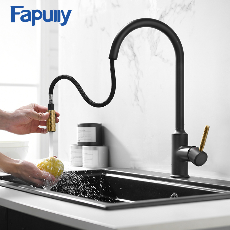 Fapully Kitchen Faucet Pull Down Brass Cold and Hot Mixer Tap Black Gold Water Single Holder Faucet Kitchen Sink Crane 1076