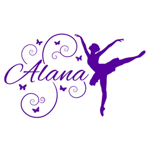 Personalized Ballerina Butterflies Name Monogram Wall Sticker, Girls Bedroom Nursery Vinyl Wall Decal Bedroom Home Decor A912(China)