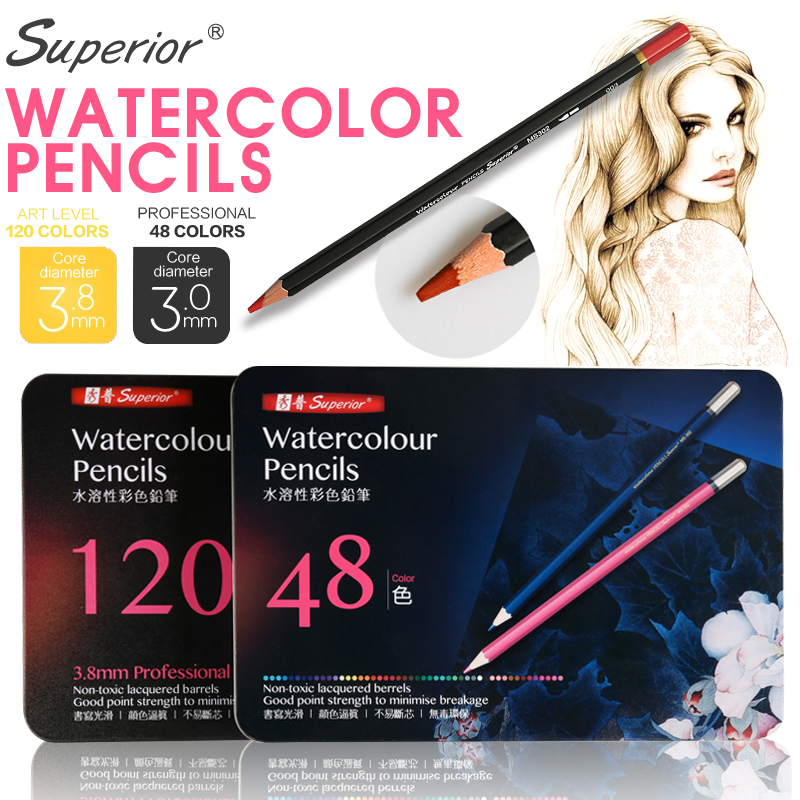 Superior 48/120Peice Professional Watercolor Pencil Set Metal Box Color Pencil for Artist Painting Drawing Lapis de Art Supplier mungyo stationery set 12 24 48 color art solid watercolor painting pigment write iron box packaging