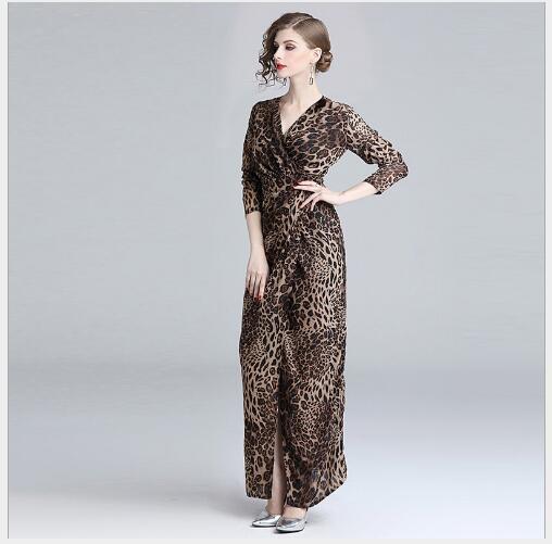 Robe Long Nouveau Longues Femmes Slim Leopard Casual Mode Fit Col 2019 Crayon Fente Impression Style Printemps Lady Manches Brown V XEddpwq