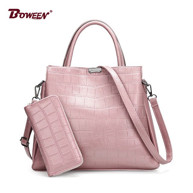 5d77be54d0 large women leather handbags casual tote shoulder bags set Ladies hand bag  Crocodile pattern fashion female Clutch bag small
