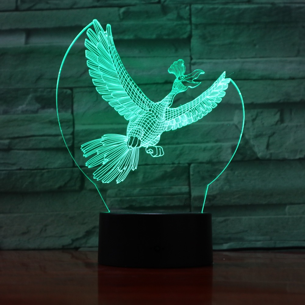 Phoenix Bird 3D 7 Color Led Night Lamps For Kids Touch Led Usb Table Lampara Lampe Baby Sleeping Nightlight Drop Ship