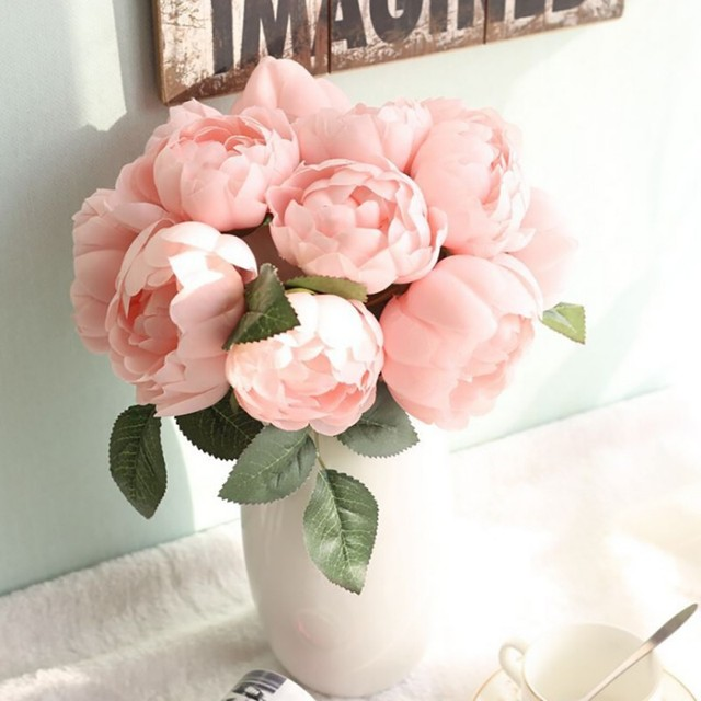 1 Bunch Fake Flowers Holding Flowers Rich Peony Flower Artificial flowers Wedding decoration Office Home Decoration