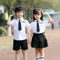 Little Brother Big Sister Family Matching Outfit Clothes Pilot Uniform Cosplay Costume Christmas New Year's Girls Clothing Sets