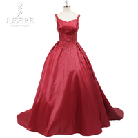 Haute Couture Evening Dress 2016 Red Bateau Neckline Open Back Satin Sleeveless Beads Box Pletas Chapel