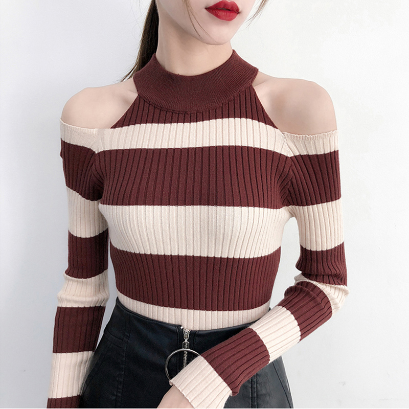 Sueter Mujer 2018 Turtleneck Sexy Off Shoulder Sweaters Pullovers Pull Femme Long Sleeve Stripe Sweater Woman Winter Clothes